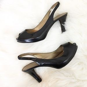 Marc Fisher Black Slingback Peep-toe Heels